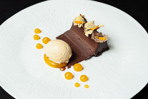 Chocolate ganache, passion fruit, banana ice cream
