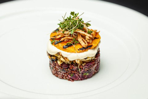 Portfolio burger, butternut squash, beetroot, beans, burnt cabbage, mushrooms, crispy onion, mayo