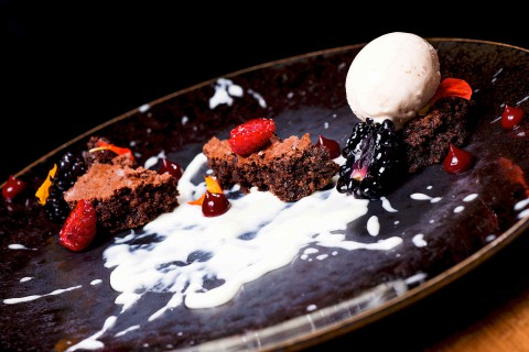 Brownies, white chocolate crème, peanut ice cream, blackberries, raspberries